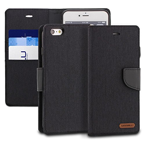 iPhone 6s Plus Case, ModeBlu [Pocket Diary Series] [Black] Wallet Case ID Credit Card Cash Slots Premium Canvas [Stand View] for Apple iPhone 6s Plus & 6 Plus, 5.5 inch