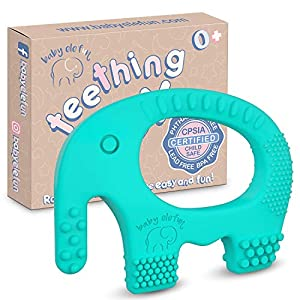 Best Epic Trends 51TO-KBI1NL._SS300_ Baby Teething Toys - BPA Free Silicone Toy - Cute, Easy to Hold, Soft and Highly Effective Elephant Teether - Teethers…