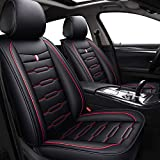 Skysep Cartoon Full Set Universal Fit 5 Seats Car Surrounded Waterproof Leather Car Seat Covers Protector Adjustable Removable Auto Seat Cushions (Black-red)