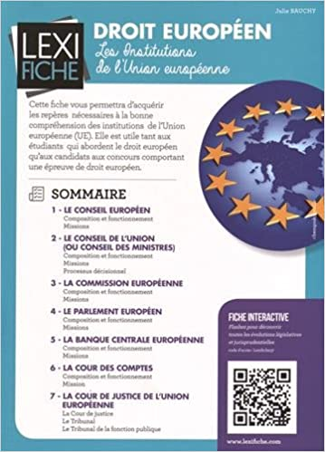 Book's Cover of Droit européen : Les institutions de l'Union européenne (Français) Poche – 7 mars 2016