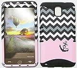 For Samsung Galaxy Note 3 Love Anchor Chevron Black White Pink Bk-te701 Hybrid Shock Resistant Bumper Cover Hard Case And Black Skin With Stylus Pen Koolkase Rocker
