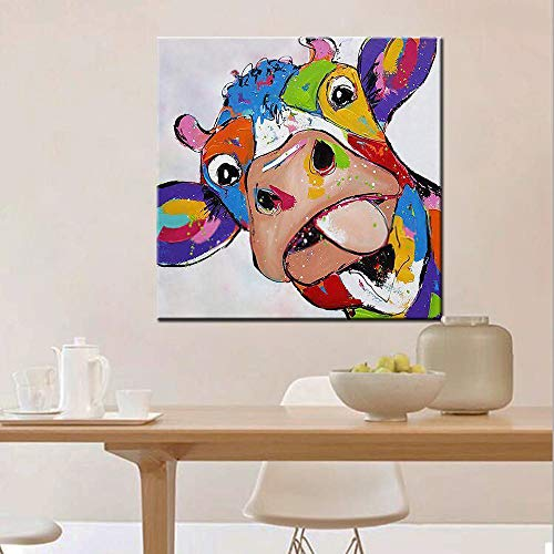 Hand Painted Kids Murals - SUMIANYH Hand-Painted Oil Painting Animal Style Abstract Cute Colorful Cow Home Decor Painting Painting On Canvas for Bedroom Living Room Children's Room Decoration Painting Without Frame 80 X 80Cm