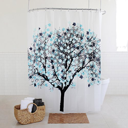 Splash Home EVA 5G Foilga Shower Curtain Liner Design for Bathroom Showers and Bathtubs - Free of PVC Chlorine and Chemical Smell - Eco-Friendly - 100% Waterproof, 72 X 70 inch - Blue