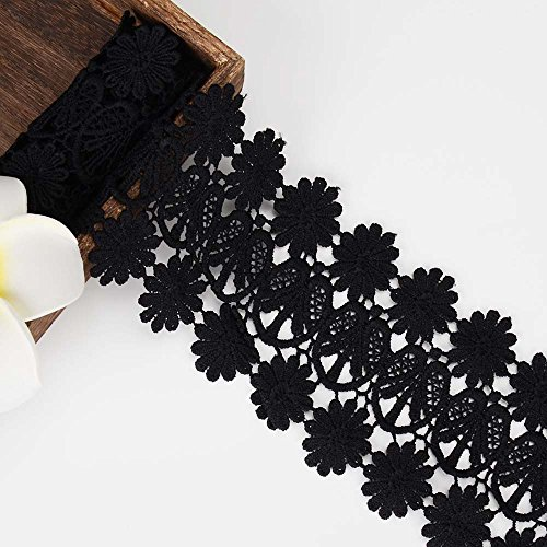 Venise Lace Bow - MANVEN Floral Pattern Lace Edge Trim Boho Eyelash Venise Flower Embroidered Sequin Ribbon Polyester Chantilly Sewing Fabric for Bridal Wedding,Headbands,Hair Bows,Mothers Day Decorations,2 Yards,Black