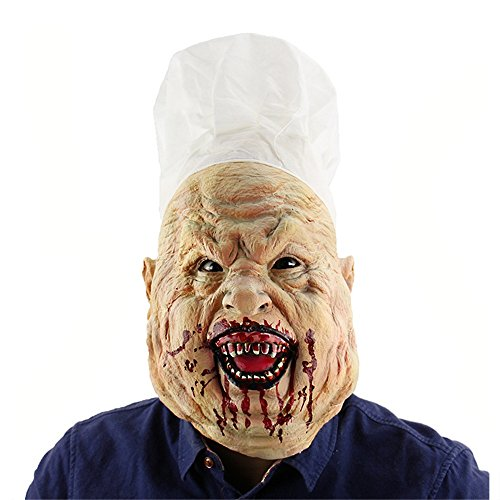 (Fly Bloody Crazy Chef Halloween Horror Mask Amazon Foreign Trade Latex Headgear Haunted House Dressing Head Cover)