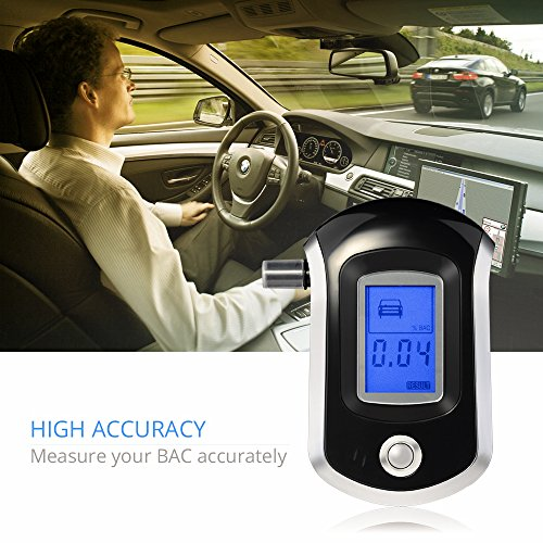 VicTsing Professional Breathalyzer with Semi-conductor Sensor and LCD Display Digital Breath Alcohol Tester with 20 Mouthpieces, Fit for Drivers and Drinker,black by VicTsing (Image #4)