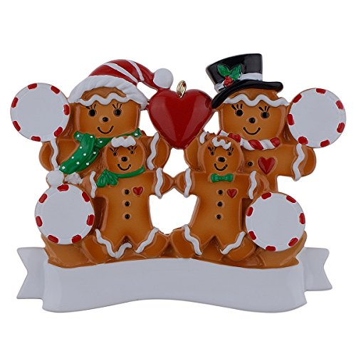 WorldWide Personalized Ornament Gingerbread Family of ()