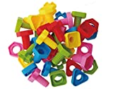 Jumbo Nuts and Bolts Set with Tote 40 Pcs - Occupational Therapy -Pattern Card Included- Matching Fine Motor Toy for Toddlers Preschoolers