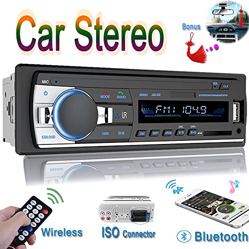 Car Stereo, Car Stereo with Bluetooth Single Din In-Dash Car Radio Receiver Wireless Remote Car Stereo Receiver , MP3/USB/SD/AUX/FM Car Stereos, Remote (60w Single Channel)