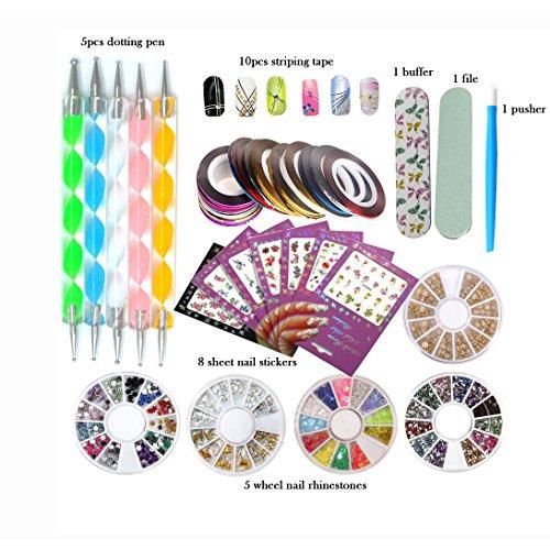 - DIY Glitter Nail Rhinestones Decorations Dotting Tool Water Transfer Sticker Decal Nail Line Tape Striping Nails Sanding Buffing File Beauty Accessories Nail Art Set Kit