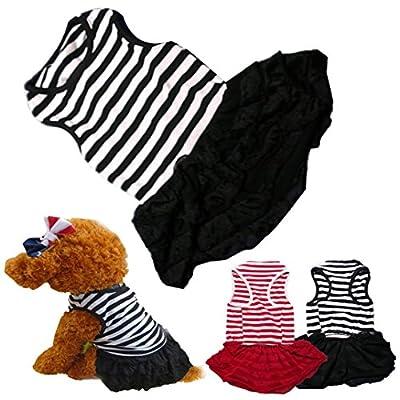 Binmer(TM)Cute Dog Clothes Pet Dog Costume Stripe T-shirt Skirt Puppy Princess Dress Dog Apparel