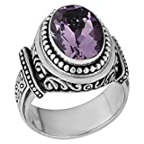 Artisanica Amethyst Sterling Silver Handcrafted Bali Ring (size 9)