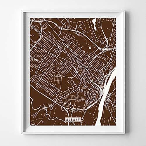 Amazon.com Albany New York City Street Map Wall Art Home