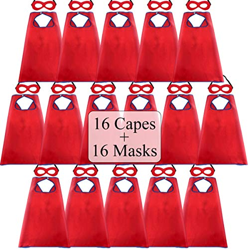 Superhero-Capes for Kids Bulk with Masks - Boys Girls Super-Hero Dress Up Party, 16 Pack -