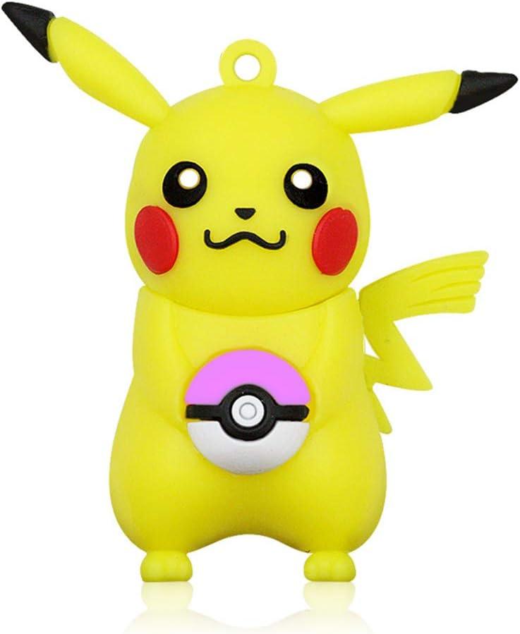cradifisho Pocket Monsters Pikachu Llave USB 32GB Sonora Llaves USB 2.0Flash Drive Memoria Stick Stitch, Regalo de cumpleaños, Estudiantes, Travail- (M4) 64G