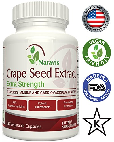 Naravis Grapeseed Extract - 400mg - 120 Veggie Capsules - 95% Proanthocyanidins - Non-GMO Antioxidant Supplement