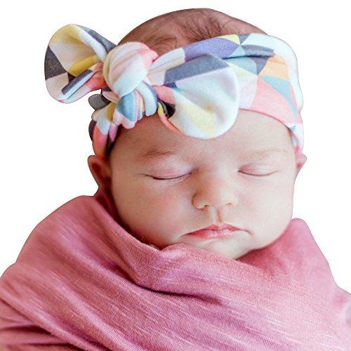 3 Pcs Bébés filles imprimé fleur bandeau oreilles de lapin Soft turban tête envelopper noué bande de cheveux