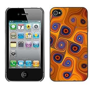 Caucho caso de Shell duro de la cubierta de accesorios de protección BY RAYDREAMMM - Apple iPhone 4 / 4S - Orange Swirls