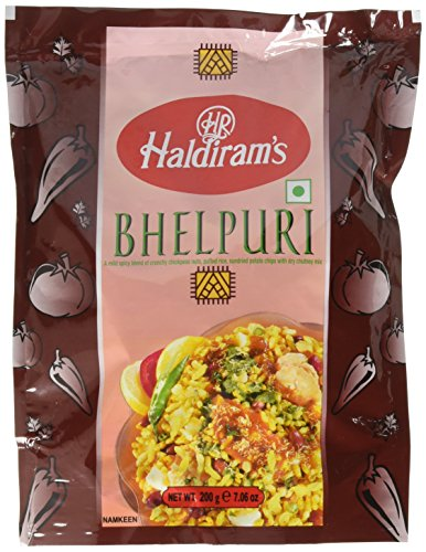 Haldiram's Bhelpuri - A Mild Spicy Blend of Crisp Noodles, Nuts, Puffed Rice, Dried Vegetables & Dried Potato Chips with Dry Chutney Mix - 200g. (Pack of 3)