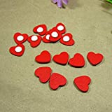 Wall Stickers - Mini Wooden Red Love Heart Sponge Stickers Del...