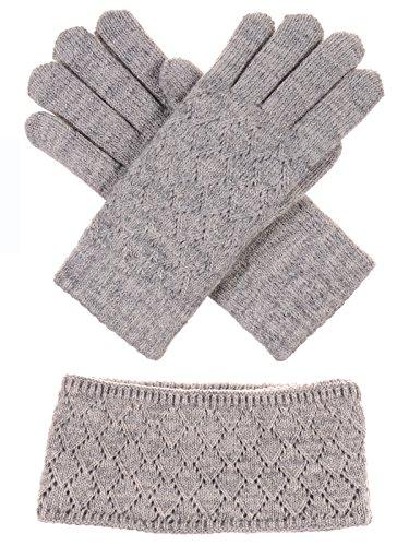 (BYOS Winter Chic Plush Faux Fur Fleece Lined Knitted Gloves & Headband Wrap Ear Warmer Set (Heather Beige Diamond Pattern Set))