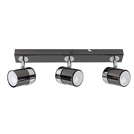 MiniSun – Plafón de techo con 3 focos – regleta de luz en negro brillante y cromo.