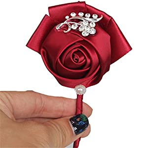 S-SSOY Boutonniere Bridegroom Groom Men's Boutonniere Groomsmen Best Man Boutineer with Pin Brooch Corsage for Wedding Homecoming Prom Suit Decoration Wine Red #10 1 Piece 33