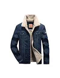 HEMAY Men's Classic Denim Jacket Rugged Wear Thick Cowboy Coat Plus Size
