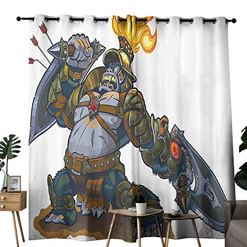 - Windshield Curtain Kids Cartoon Like Fantastic Warrior King Monkey with Shield Feather Animal Artwork Print Multicolor Blackout Draperies for Bedroom Living Room W96 xL108