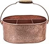 Elegant Home Copper Hammered Flatware Caddy Organizer for Kitchen Counter-top/Outdoor Storage Dining Table - Comfortable Handle (Ovel)
