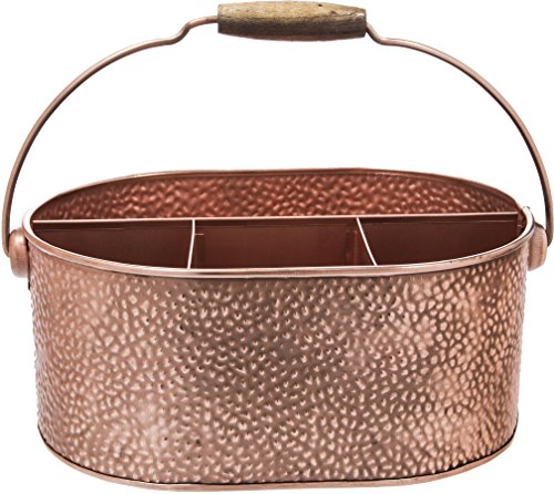 Elegant Home Copper Hammered Flatware Caddy Organizer for Kitchen Counter-top/Outdoor Storage Dining Table - Comfortable Handle (Ovel) by HC (Image #2)