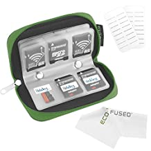 Eco-Fused 8 Pages and 22 Slots Memory Card Carrying Case with Microfiber Cleaning Cloth - Green