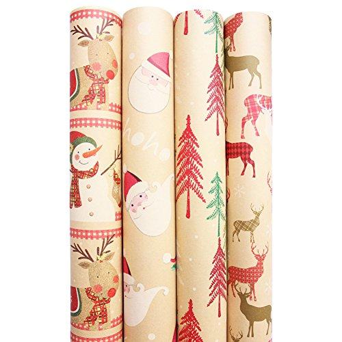 Christmas Holiday Kraft Wrapping Paper Rolls - Pack of 4 Rolls 160SQFT Snowman, Santa, Christmas Trees, Reindeer