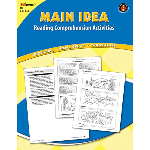 "Edupress EP-2365 Blue Level Main Idea Reading Comprehension Activities, 0.25"" Height, 8.5"" Wide, 11"" Length"