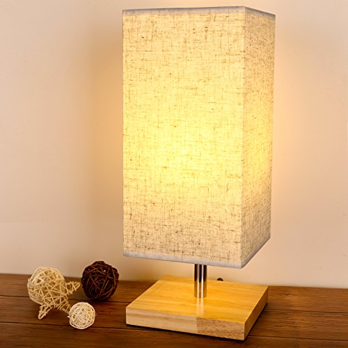 Lewondr Table Lamp, Bedside Desk Lamp Solid Wood Nightstand Square Simple Table Light with Flaxen Fabric Shade for Bedroom, Living Room, Dormitory, Coffee Table