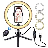 """10"""" Selfie Ring Light with Tripod Stand & Cell Phone Holder, LATZZ Dimmable Desktop LED Lamp Camera Ringlight with Wireless Remote Shutter for Live Stream/Makeup/YouTube Video/Photography"""