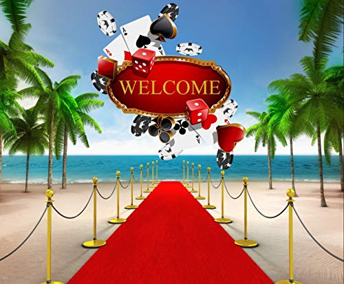- 10x8 ft Casino Themed Photo Booth Backdrop Red Carpet with Palm Trees Cards Above Sea Party Background Photography Studio Props