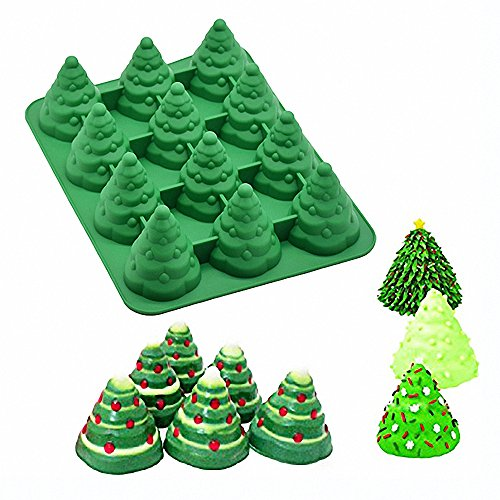 (3D Christmas Tree Silicone Mold - MoldFun Xmas Tree Pan Silicone Mold for Mousse Cake Muffin Baking, Ice Cube, Jello, Chocolate, Soap, Lotion Bar, Bath Bomb, Candle (Random)
