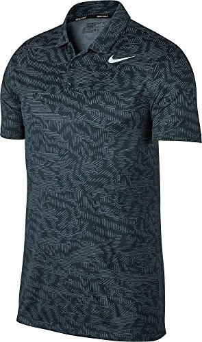 NIKE Dry Fit Breathe Jacquard Golf Polo 2017 Armory Navy/White Large