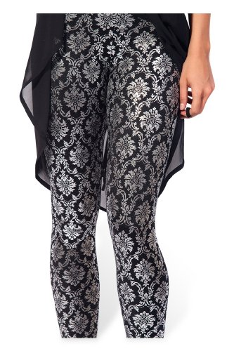 Sister Amy Women's High Waist Sliver Flower Digital Printted Ankle Elastic Tights Legging]()