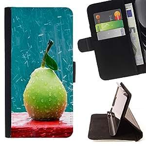 Momo Phone Case / Flip Funda de Cuero Case Cover - Frutas Macro Rainy Pera - LG G2 D800