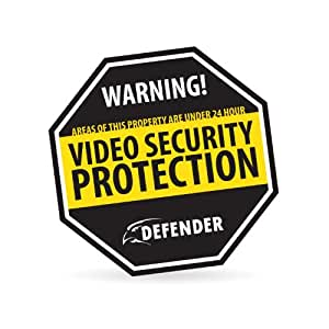 Defender SP101-SGN Durable Aluminum Security Yard Sign with Reflective Paint and UV Fade Protection (Black)
