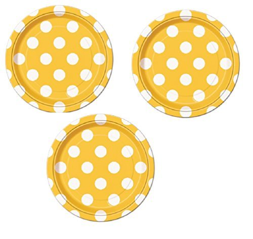 Yellow Polka Dot Party Dessert or Cake Plates - 24 Plates