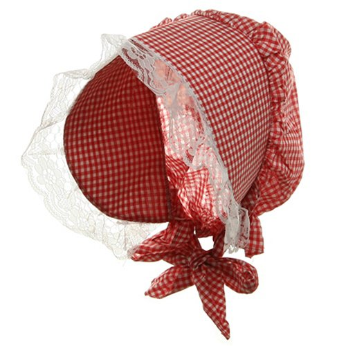 Bonnet Hat - Red and White - Dress Red White Gingham