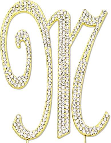 Sparkly Rhinestones Letter M Cake Topper, Birthday Wedding Anniversary Gold Initial M