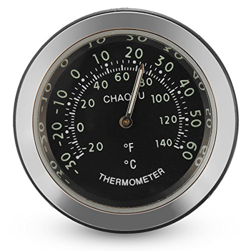 JenNiFer Car A/C Vent Clip Thermometer Clock Gauge Trim Perfume Refill Storage Fragrance - Black: