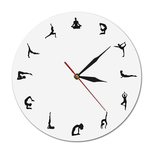 YHuHY Reloj de Pared DIY con patrón de posturas de Yoga de ...