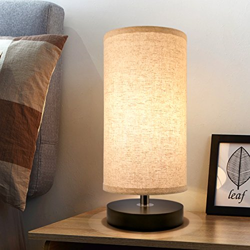 Bedside Table Lamp, Aooshine Minimalist Solid Wood Table Lamp Bedside Desk Lamp, Round Simple Desk Lamp, Nightstand Lamp with Fabric Shade