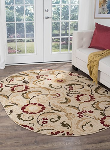 (Wichita Transitional Floral Ivory Oval Area Rug, 5' x 7' Oval )