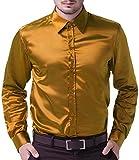 Men's Stylish Solid Satin Dress Gold Luxury Shirt Size M
